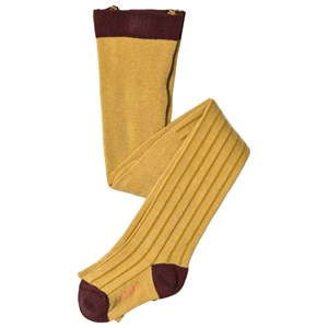 TINYCOTTONS | Tinycottons Mustard And Sand Striped Tights 8 Years | Goxip