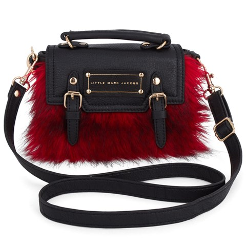 Little Marc Jacobs Red Faux Fur Leather Handbag