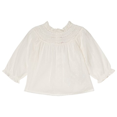 Bonpoint Cream Dobby and Lace Frill Collar Blouse