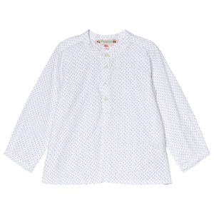 BONPOINT | Bonpoint Bonpoint White Green and Blue Spot Collarless Shirt 18 months | Goxip