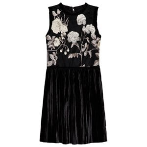 DAVID CHARLES | David Charles David Charles Black And Gold Floral Embroidered Pleat Skirt Dress 16 Years | Goxip