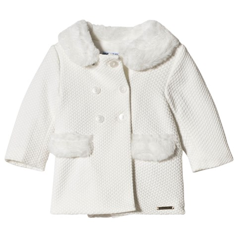 Mayoral Cream Knit Coat with Faux Fur Collar & Pocket Detail