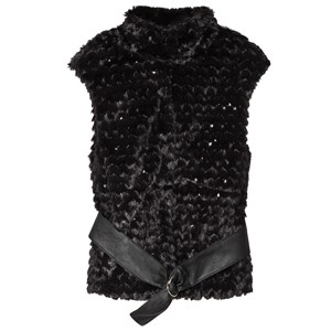 MAYORAL | Mayoral Black Faux Fur And Sequin Gilet With Faux Leather Belt 8 Years | Goxip