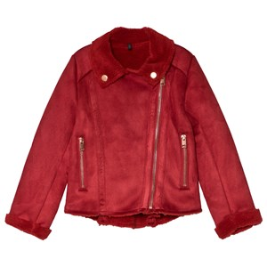 IKKS | IKKS Red Faux Suede Biker Jacket 8 Years | Goxip