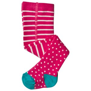 FRUGI ORGANIC | Frugi Pink And White Striped And Spotted Tights 1-2 Years | Goxip