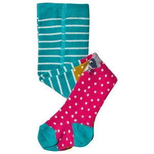 FRUGI ORGANIC | Frugi Green Striped Tights With Mustard And Pink Character Knees 6-12 Months | Goxip