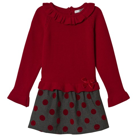 Dr Kid Red & Grey Spotted Knitted Dress