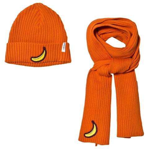 Indikidual Orange Banana Patch Beanie and Scarf