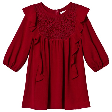 Chloé Red Crepe and Lace Frill Dress