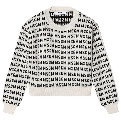MSGM White All Over Logo Cropped Knit Jumper