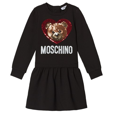 Moschino Black Sequin Bear and Branded Milano Dress