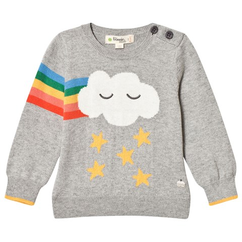 The Bonnie Mob Grey Grandmaster Rainbow Cloud Intarsia Sweater