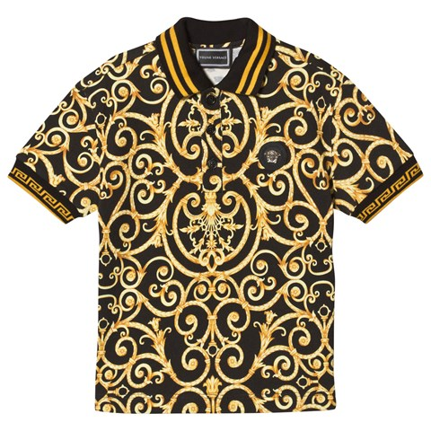 ba54c965f Versace Black and Gold Baroque Print Polo with Medusa Plaque ...