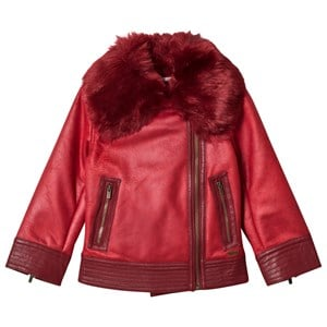 PEPE JEANS LONDON | Pepe Jeans Red Arcadia Faux Fur Pleather Aviator Jacket 8 Years | Goxip