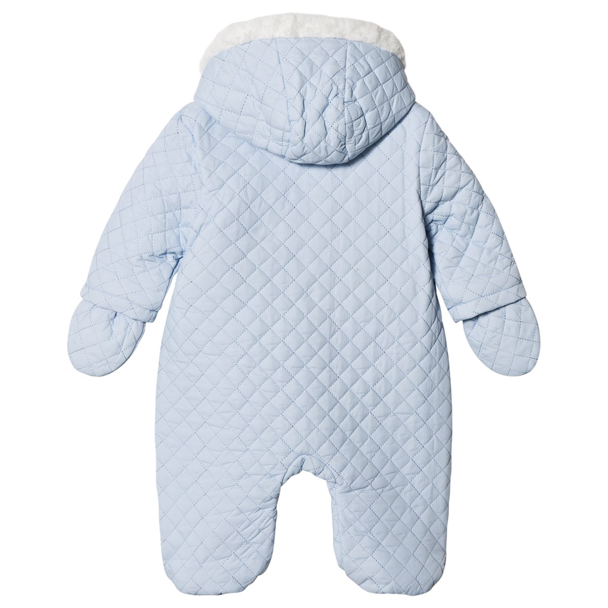 7c84f35917f9 Mintini Baby Blue Quilted Pramsuit with Faux Fur Trim Collar ...