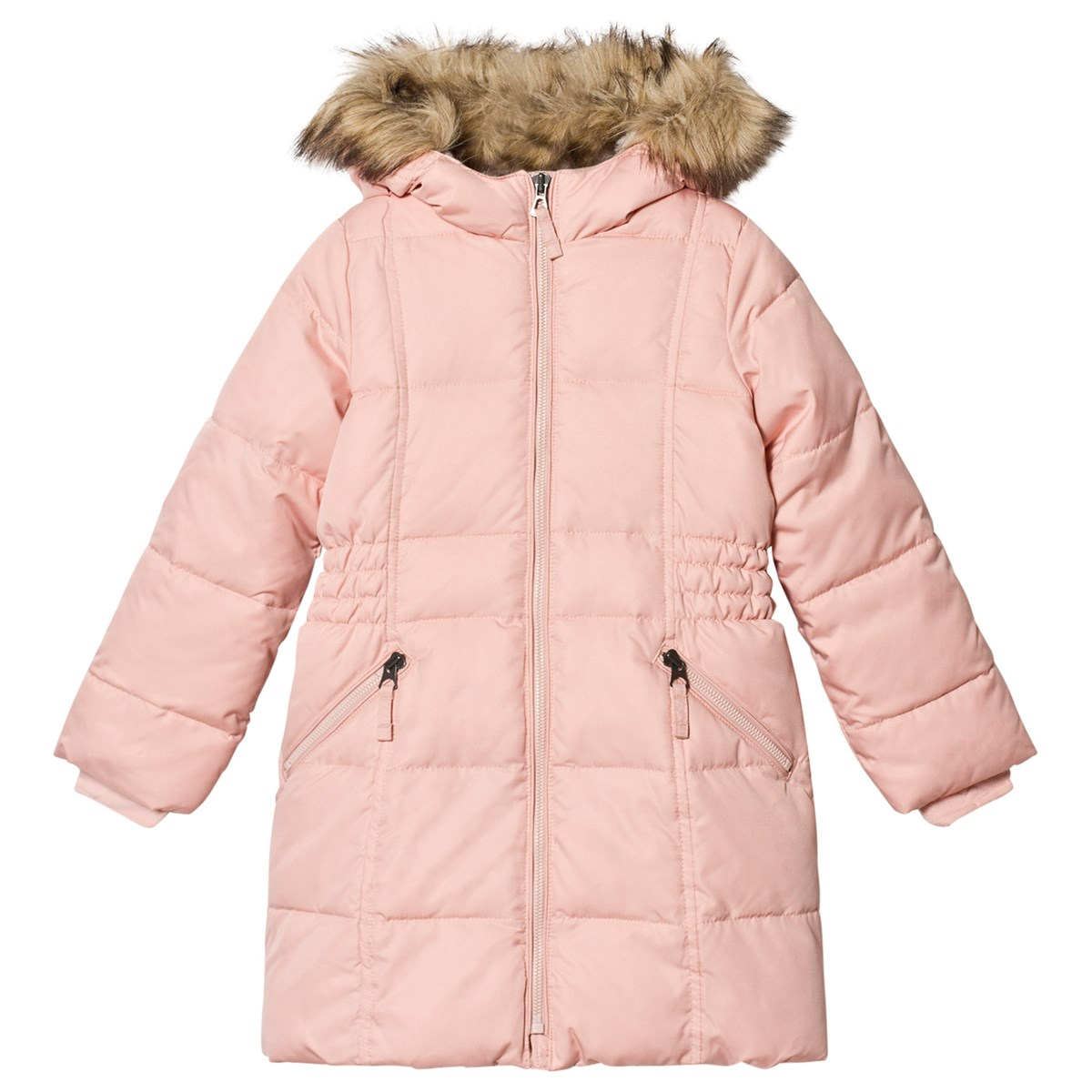 cf9af2283919 Lands  End Pink Long Line Thermoplume Hooded Coat