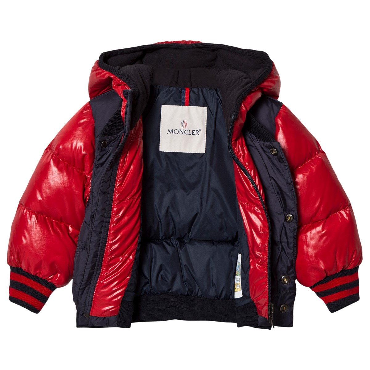 20eed4e96 Moncler Navy and Red Monieux Down Hooded Coat