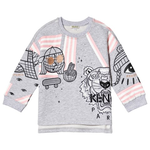 Kenzo Kids Grey Cosmic Tiger Print Sweatshirt