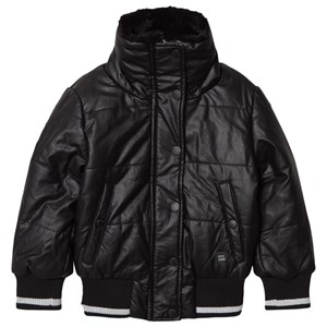 PEPE JEANS LONDON   Pepe Jeans Black Annabelle Faux Fur Collar Pleather Puffer Jacket 8 Years   Goxip