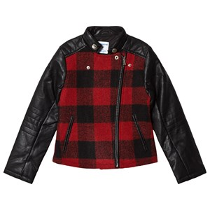 MAYORAL | Mayoral Black And Red Faux Leather Check Biker Jacket 16 Years | Goxip