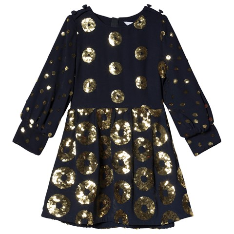 Little Marc Jacobs Navy Dress with Gold Sequins