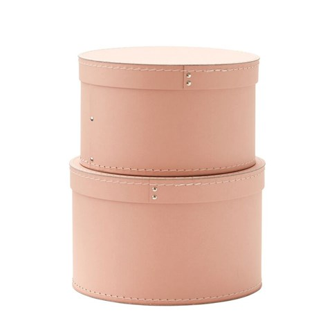 Kids Concept Pink Set of Two Round Storage Boxes