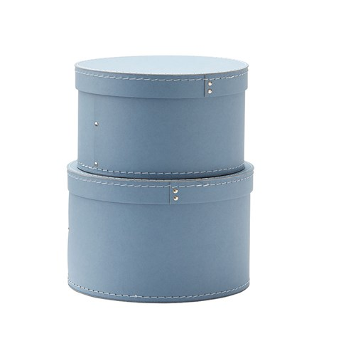 Kids Concept Blue Set of Two Round Storage Boxes