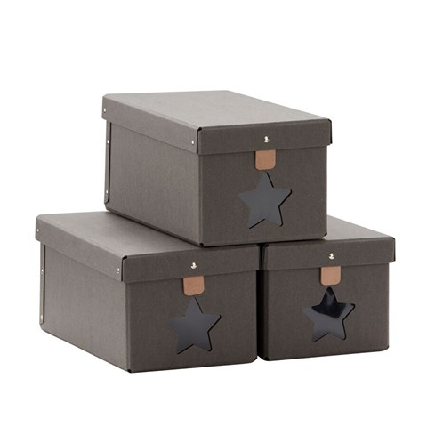 Kids Concept Pack of 3 Grey Shoe Storage Boxes