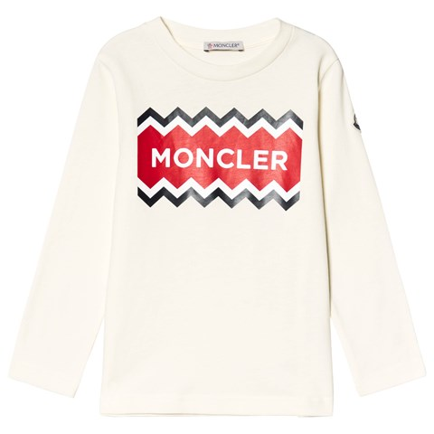 Moncler White Logo Long Sleeve T-Shirt