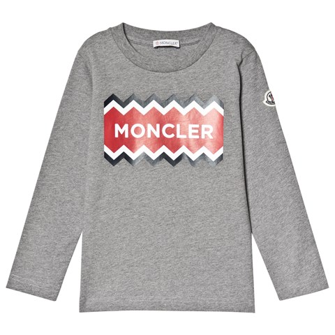 Moncler Grey Logo Long Sleeve T-Shirt