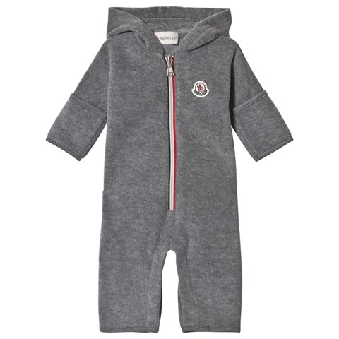 Moncler Grey Fleece Hooded Footless Babygrow