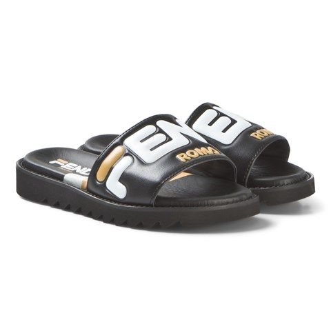 Fendi Black Fendi Mania Fila Leather Slides