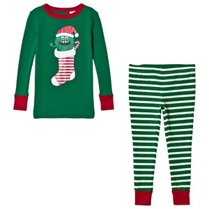 LANDS' END | Lands' End Green Stripe Candy Monster Pyjama Set 10-11 Years | Goxip