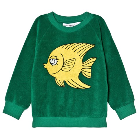 Mini Rodini Green Fish Terry Sweatshirt