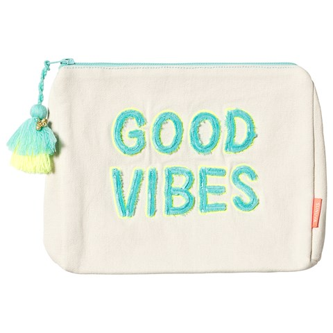 Sunuva Aqua and Neon Yellow Good Vibes Wash Bag