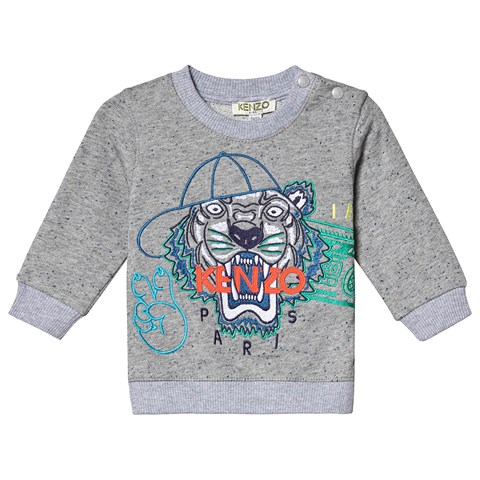Kenzo Kids Grey Baseball Tiger Embroidered Sweatshirt