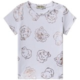 f6738ab93 Kenzo Kids White And Rose Gold All Over Tiger Print T-Shirt ...