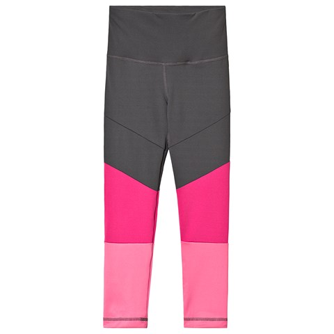 adidas Performance Grey and Pink Colour Block Leggings