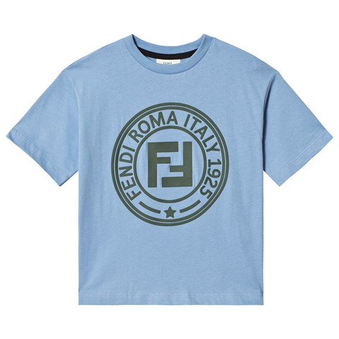 Fendi Blue Fendi Roma Stamp Logo T-Shirt