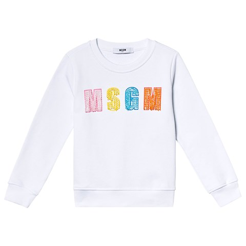 MSGM White Multi Beaded Logo Sweatshirt