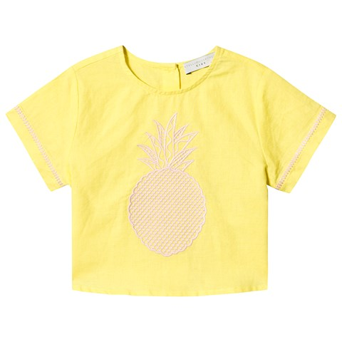 Stella McCartney Kids Yellow Pineapple Print T-Shirt