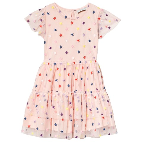 Stella McCartney Kids Pink Multicolour Embroidered Star Dress