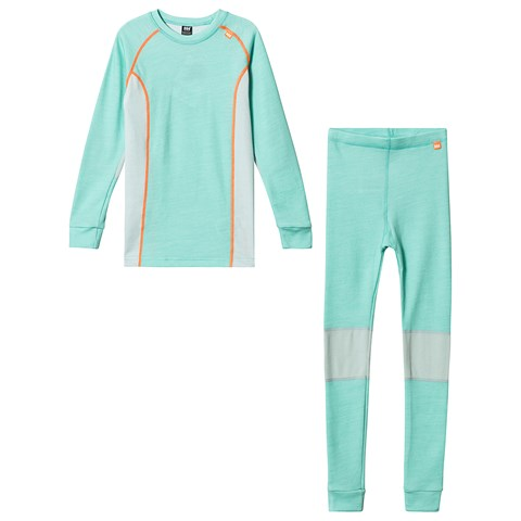 Helly Hansen Mint Green Colourblock Lifa Merino Baselayer Set