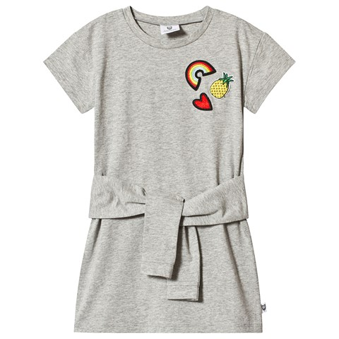 Hootkid Grey Applique Patch T-Shirt Dress