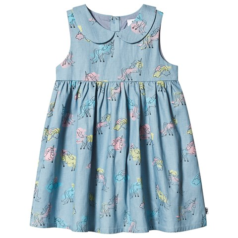 Hootkid Blue Unicorn Print Dress
