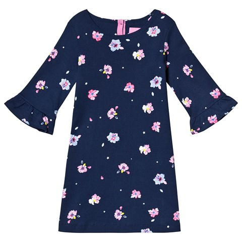 Joules Navy Floral Frill Sleeve Dress