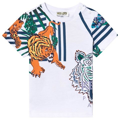 Kenzo Kids White All Over Icons and Tiger Print T-Shirt