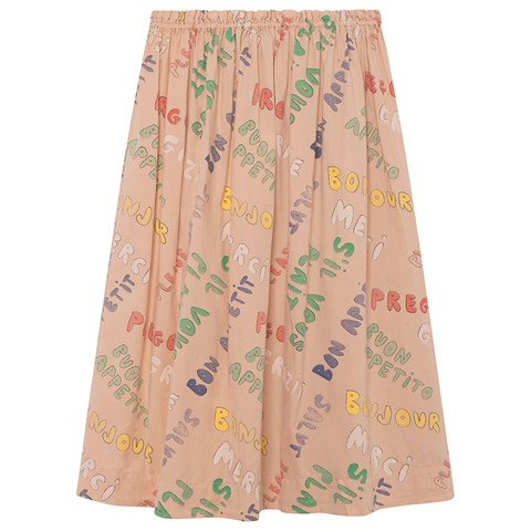 The Animals Observatory Toasted Almond Words Blowfish Kids Skirt