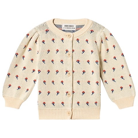 Bobo Choses Cream Flowers Cardigan