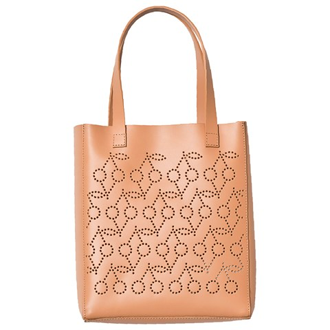 Bonpoint Tan Layer Cut Cherry Shoulder Bag